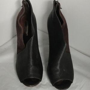 Halogen Black & Brown Leather Bootie Heels